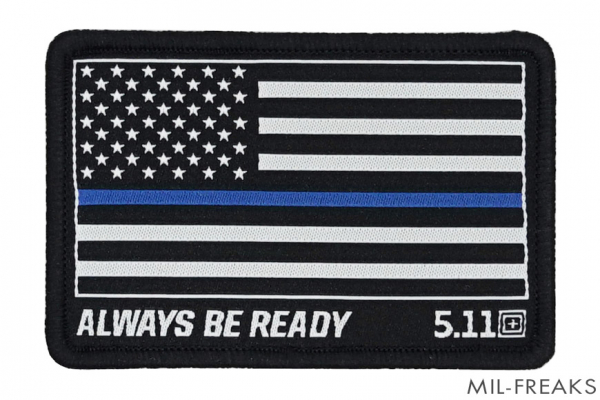 "5.11 Tactical US アメリカ国旗 ""ALWAYS BE READY"" パッチ Thin Blue Line"